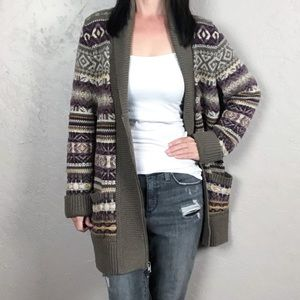 Eddie Bauer Chunky Knit Zip-Up Long Cardigan